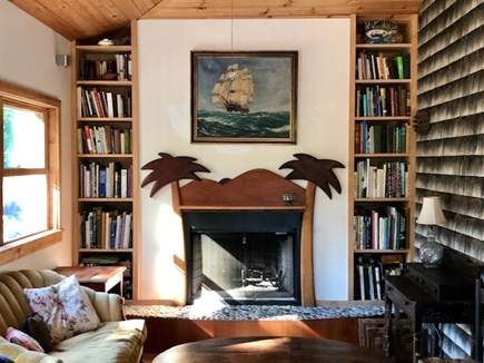 West Tisbury Martha's Vineyard vacation rental - Wonderful Library with fireplace.  Open the windows for breezes