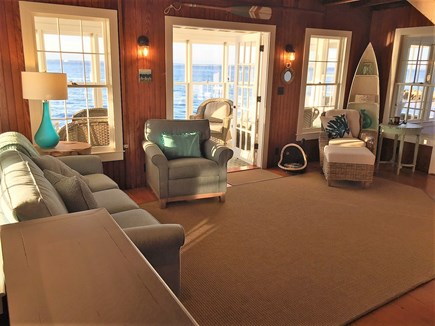 Oak Bluffs &Vineyard Haven Martha's Vineyard vacation rental - Living room with ocean views from every window & Flat Screen TV