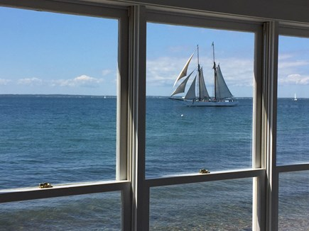 Oak Bluffs &Vineyard Haven Martha's Vineyard vacation rental - One of many sailboats passing through on a daily basis