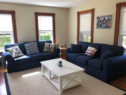 """Oak Bluffs Martha's Vineyard vacation rental - Spacious, comfortable living room- all new furniture and 50"""" tv"""