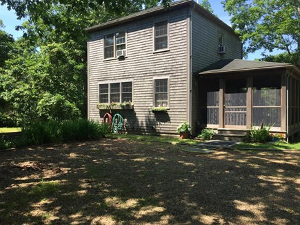 Chappaquiddick Martha's Vineyard vacation rental - Screened in porch entrance and parking area.
