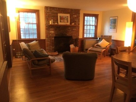 West Tisbury Martha's Vineyard vacation rental - Living room with fireplace, dining table and chairs