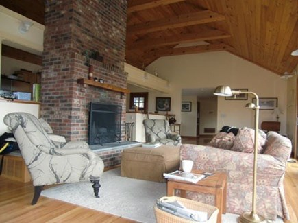 Chilmark Martha's Vineyard vacation rental - Everyone can enjoy themselves around the mantle.