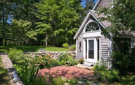 Vineyard Haven Martha's Vineyard vacation rental - The kitchen terrace and gardens--vegie garden around the corner.