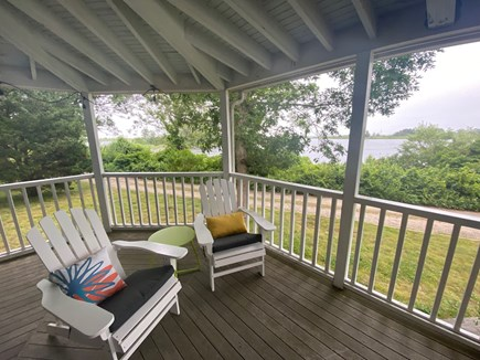 Oak Bluffs Martha's Vineyard vacation rental - Front porch: great views over Farm Pond and Nantucket Sound!