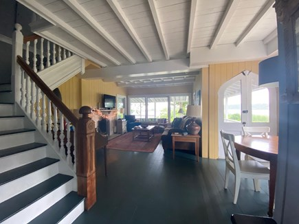 Oak Bluffs Martha's Vineyard vacation rental - Stairs and living room; all original rafters/beaded board walls