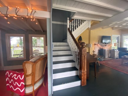 Oak Bluffs Martha's Vineyard vacation rental - Study, stairs, and living room (with working fireplace).