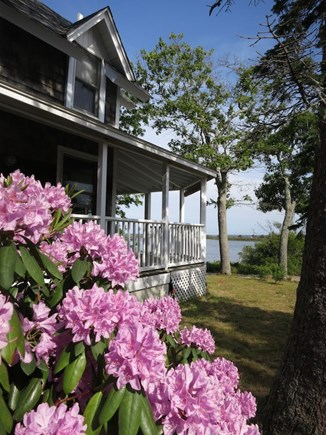 Oak Bluffs Martha's Vineyard vacation rental - Side of house looking over Farm Pond and Nantucket Sound.