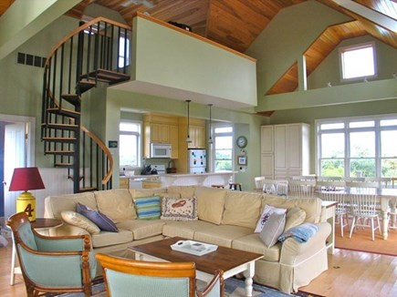 Katama - Edgartown, Edgartown Martha's Vineyard vacation rental - Living room with spiral stairs to loft