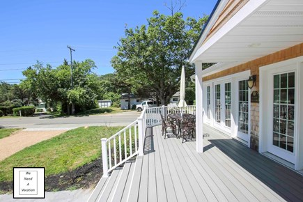 32 County Road, Oak Bluffs Martha's Vineyard vacation rental - South facing front deck with dining table or six