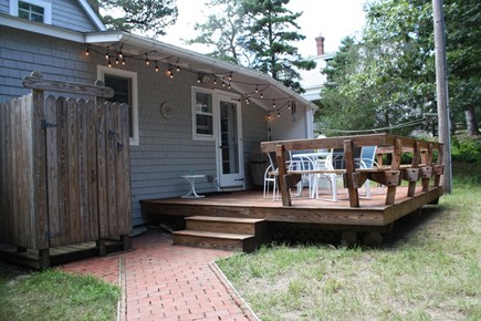 Oak Bluffs, East Chop  Martha's Vineyard vacation rental - Deck and outdoor shower, patio furniture and gas grill