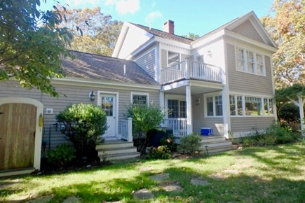 Vineyard Haven Martha's Vineyard vacation rental - Back yard has a nice outdoor shower and lots of area to play.