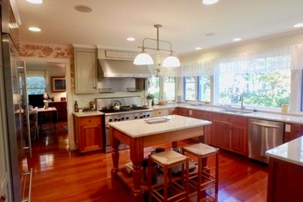 Vineyard Haven Martha's Vineyard vacation rental - Chef kitchen with custom cabinets and industrial appliances