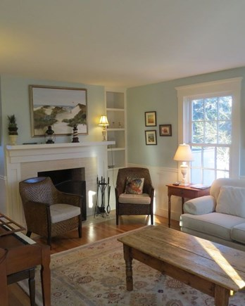 Edgartown Martha's Vineyard vacation rental - Comfortable living room w/working wood fireplace.