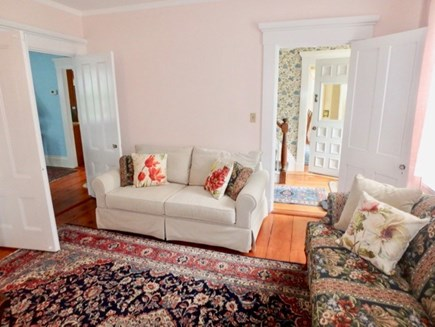 Edgartown Martha's Vineyard vacation rental - Large living room with bookshelves just inside the entryway.