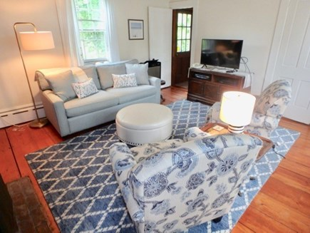 Edgartown Martha's Vineyard vacation rental - Cozy living room with television off the kitchen area.