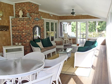 Harthaven Oak Bluffs Martha's Vineyard vacation rental - Screened porch w/sets of french doors, overlooking large backyard