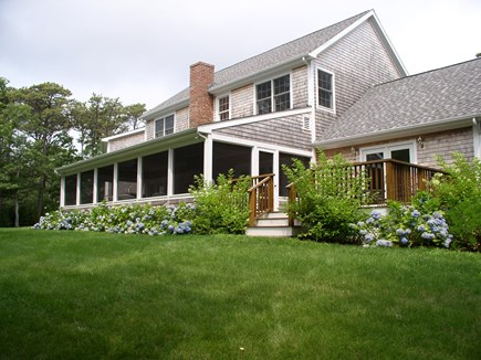 Harthaven Oak Bluffs Martha's Vineyard vacation rental - fully furnished 35'X15' screened porch & abutting sundeck