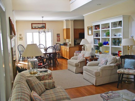Harthaven Oak Bluffs Martha's Vineyard vacation rental - Looking toward the DR area and kitchen from the LR couches