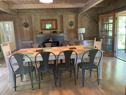 Lambert's Cove, West Tisbury Martha's Vineyard vacation rental - Dining room with wood stove and French doors to screened porch