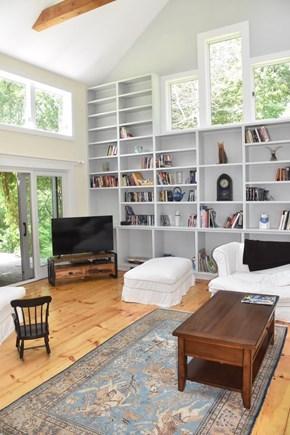 Lambert's Cove, West Tisbury Martha's Vineyard vacation rental - 2-story living room with floor-to-ceiling bookshelves