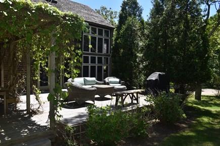 Lambert's Cove, West Tisbury Martha's Vineyard vacation rental - Terrace with vine-draped pergola, sitting area and gas grill