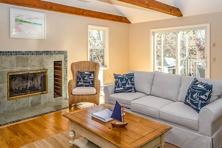 Katama - Edgartown, Edgartown Martha's Vineyard vacation rental - Living Area Has Vaulted Ceiling, Fireplace, Door to Deck