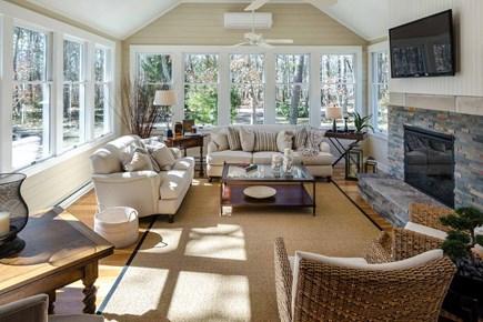Katama - Edgartown Martha's Vineyard vacation rental - Sunny Living Room Has Vaulted Ceiling, 3 Walls Of Windows