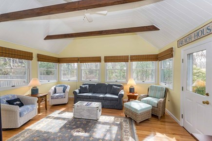 Edgartown Martha's Vineyard vacation rental - Bright Sun Room Has Vaulted Ceiling With Beams & 3 Walls Of Glass