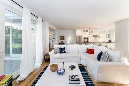 Katama - Edgartown Martha's Vineyard vacation rental - Stylish Living Area Has Sliding Doors That Open To Mahogany Deck