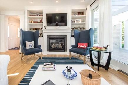 Katama - Edgartown Martha's Vineyard vacation rental - Living Area Is Centered Around Gas Fireplace & Large Screen TV