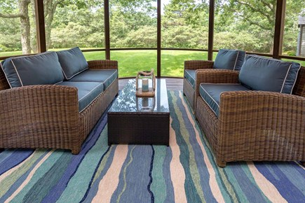 West Tisbury Martha's Vineyard vacation rental - Circular Screened Porch Overlooks Backyard Gardens and Trees