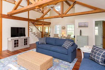 West Tisbury Martha's Vineyard vacation rental - Living Room Has Sectional Seating and Large Screen TV