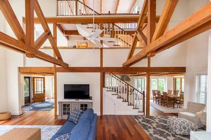 West Tisbury Martha's Vineyard vacation rental - Living Room Alternative View of Two Story Beamed Ceilings