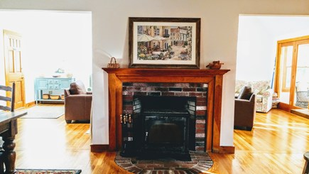 Vineyard Haven Martha's Vineyard vacation rental - Soapstone wood stove with openings tolight-filled family room.