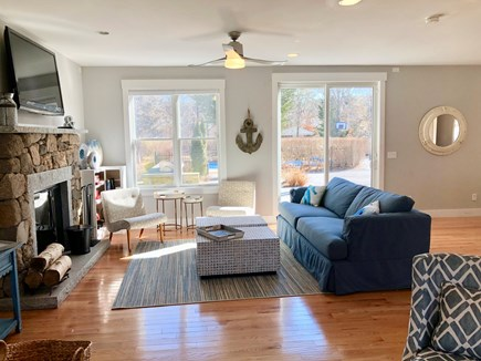 Oak Bluffs Martha's Vineyard vacation rental - The large living room has a TV and looks out to the backyard/pool