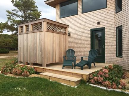 Chappaquiddick, Wasque Point Martha's Vineyard vacation rental - Master bedroom deck and custom outdoor cedar shower