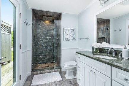 Chappaquiddick, Wasque Point Martha's Vineyard vacation rental - Master bathroom with custom glass and tile shower