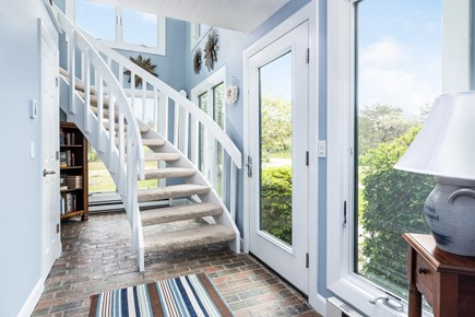 Chappaquiddick, Wasque Point Martha's Vineyard vacation rental - Front entryway and custom staircase