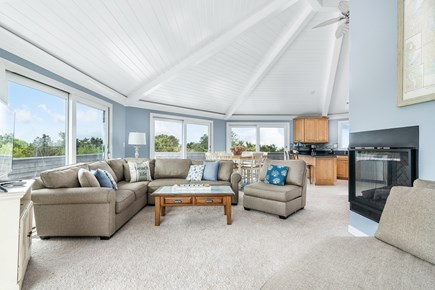 Chappaquiddick, Wasque Point Martha's Vineyard vacation rental - Open concept living area with custom octagonal ceiling