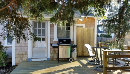 Edgartown Martha's Vineyard vacation rental - Back deck with patio furnishings, grill and outdoor shower