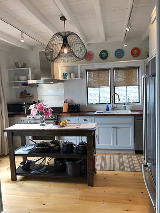 Oak Bluffs Martha's Vineyard vacation rental - Kitchen - French doors open to wide ocean-facing porch