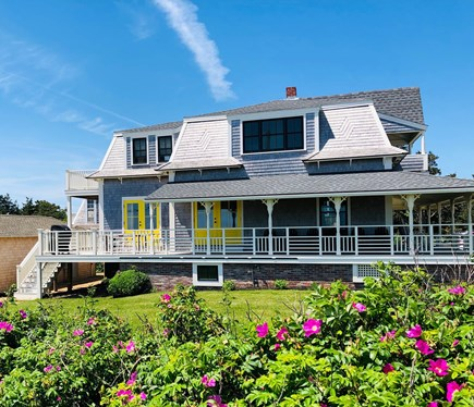 Oak Bluffs Martha's Vineyard vacation rental - Front of house faces ocean.  Porch wraps around 3 sides of house.