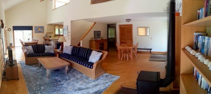 West Tisbury Martha's Vineyard vacation rental - Open Concept Living Room with 5 sliders to deck