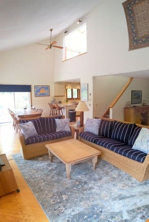 West Tisbury Martha's Vineyard vacation rental - Living Room cathedral ceiling open to Loft