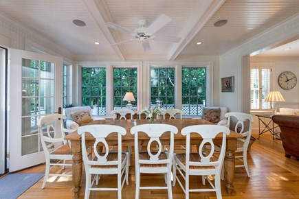 Edgartown Martha's Vineyard vacation rental - Dining Room Is Wrapped By Windows & Doors