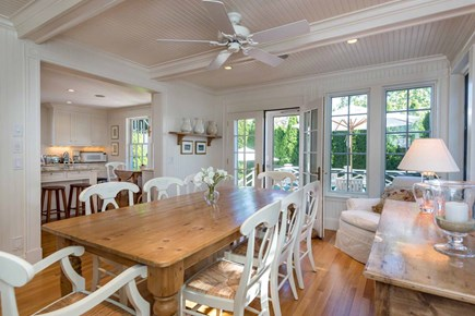 Edgartown Martha's Vineyard vacation rental - Dining Room Opens To Living Room (Left) & Kitchen (Right) For Eas
