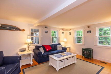 Edgartown Martha's Vineyard vacation rental - Living Room Has Gas Wood Stove and Large Screen TV