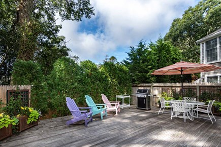 Edgartown Martha's Vineyard vacation rental - Large Backyard Deck is Set Up for Outdoor Dining and Entertaining