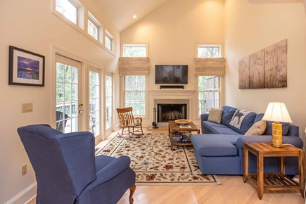 Vineyard Haven Martha's Vineyard vacation rental - Living Room Has Vaulted Ceilings, Large Screen TV and Fireplace
